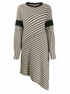Mm6 Maison Margiela striped asymmetric dress - Neutrals