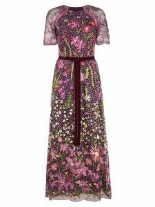 Marchesa Notte floral landscape embroidered cocktail dress - Purple