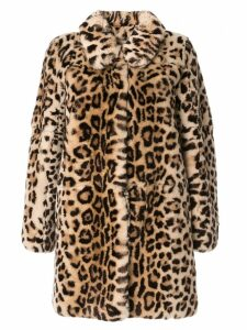 Yves Salomon Meteo leopard fur coat - Brown