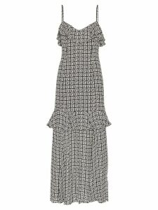 Rebecca De Ravenel Mermaid printed ruffle maxi-dress - White