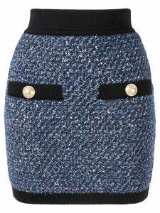 Balmain bouclé knit mini skirt - Blue