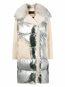 Yves Salomon padded zip-up coat - White