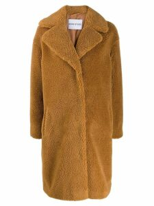 Stand faux shearling coat - Brown