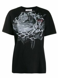 Valentino rose print T-shirt - Black
