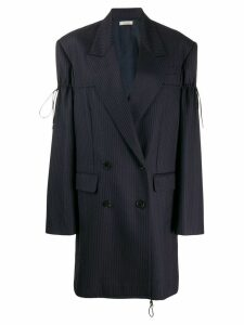 Nina Ricci pinstripe drawstring toggle blazer coat - Blue