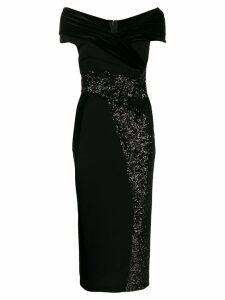 Talbot Runhof contrast sequin dress - Black