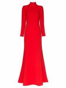 Rebecca De Ravenel high-neck gown - Orange