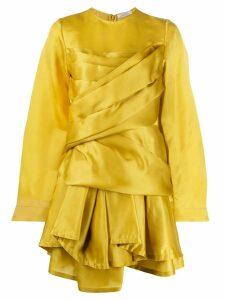 Nina Ricci draped asymmetric hem dress - Yellow