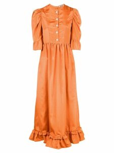 Batsheva puff-sleeve midi dress - ORANGE