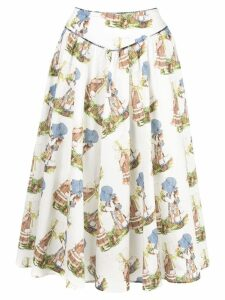 Batsheva graphic print midi skirt - White