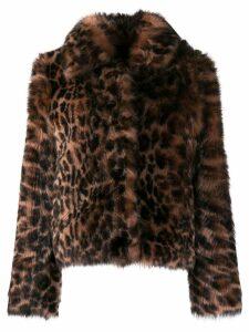 Yves Salomon leopard print fur jacket - Neutrals