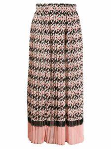 Elisabetta Franchi logo print pleated skirt - Pink