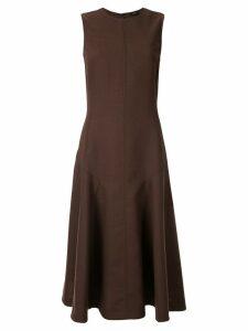 Joseph flared drop-waist midi dress - Brown