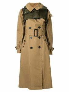 Sacai padded trench coat - Brown