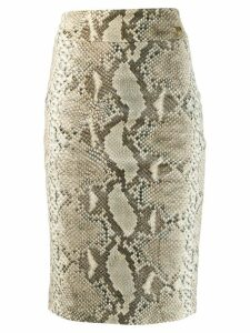 Cavalli Class snakeskin print pencil skirt - Brown