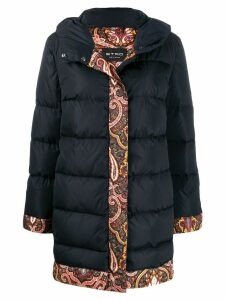 Etro padded hooded paisley coat - Black