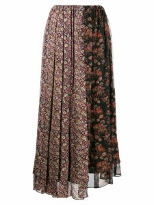 Junya Watanabe patched floral print skirt - Black