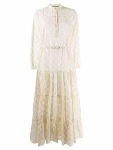 Gucci monogram long flared dress - Neutrals