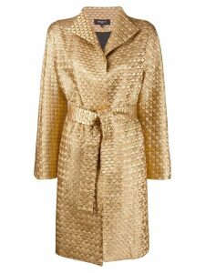 Paule Ka metallic stitched wrap coat - GOLD