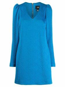 Cavalli Class textured puff-shoulder dress - Blue
