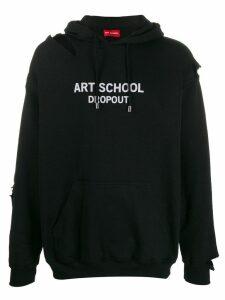 Art School logo print distressed hoodie - Black
