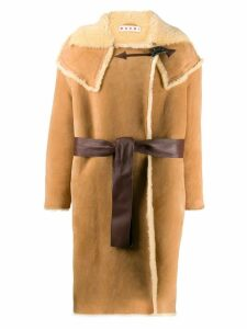 Marni belted shearling coat - Neutrals