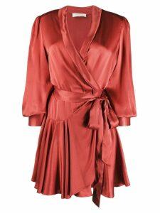 Zimmermann wrap-style silk dress - Red