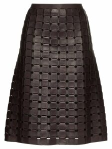 Bottega Veneta woven leather skirt - Black
