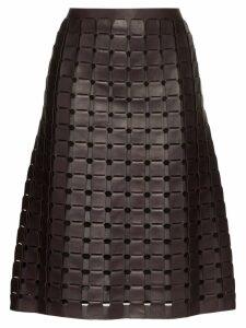 Bottega Veneta woven leather skirt - Black