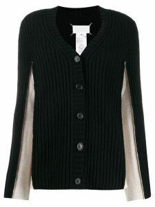 Maison Margiela contrast panelled sleeve cardigan - Black