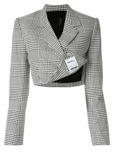 Seen Users check print cropped blazer - Black