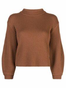 Tibi ribbed knit cropped sweater - Brown