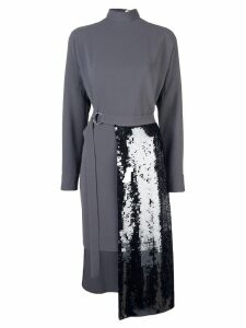 Tibi sequin panelled knitted dress - Grey