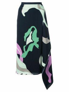 Tibi ant farm print asymmetric skirt - Blue