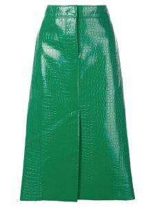 Tibi crocodile embossed skirt - Green