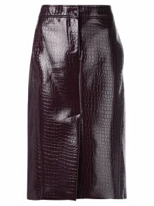 Tibi crocodile embossed skirt - Black