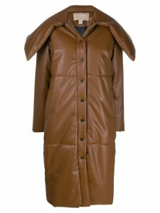 Matériel faux-leather padded coat - Brown