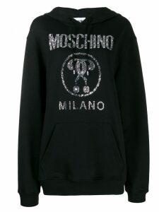 Moschino crystal-embellished logo hoodie - Black