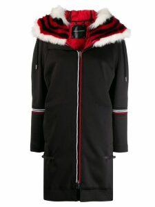 Ermanno Scervino faux-fur trimmed coat - Black