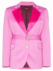 Sies Marjan contrast-lapel belted blazer - Pink