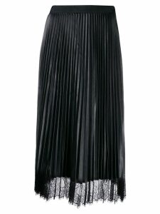 Twin-Set lace trim pleated skirt - Black