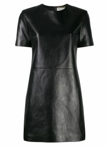 Saint Laurent leather T-shirt dress - Black