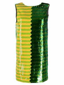 Halpern panelled sequin mini dress - Green