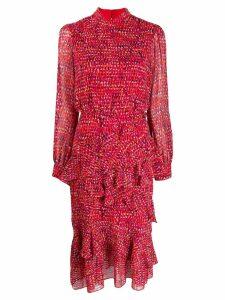 Saloni print ruffled midi dress - Red