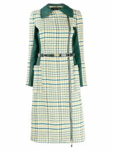 Elisabetta Franchi off-centre zipped trench coat - Green