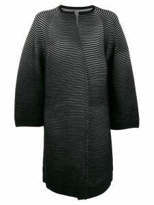 Issey Miyake rib knit cardi-coat - Black