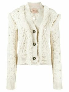 Nude fringed cardigan - Neutrals