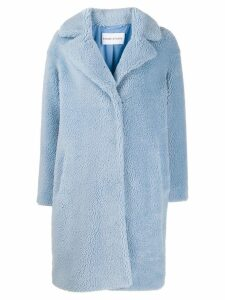 Stand concealed fastened coat - Blue