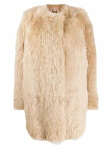 Nº21 single breasted fur coat - Neutrals