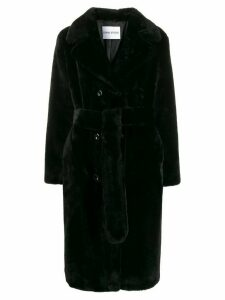 Stand belted trench coat - Black